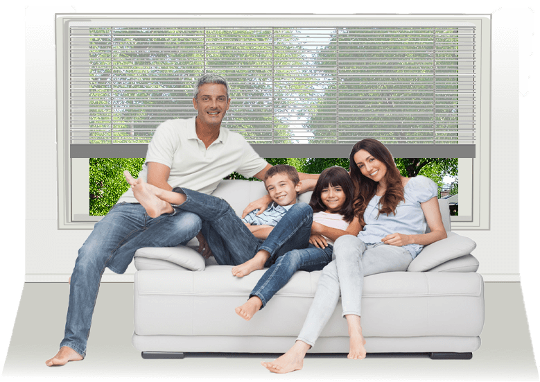 Comfortable family on a couch with summer scene outside vector